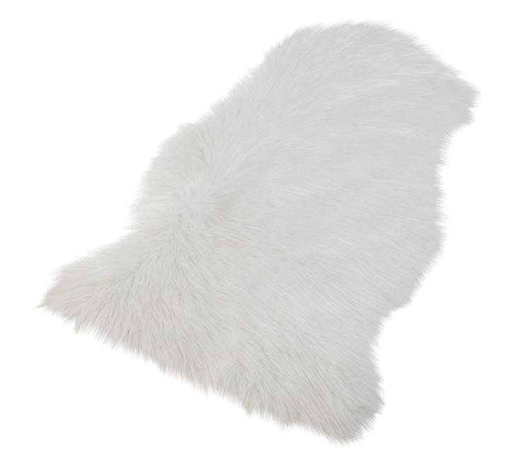 Tapis fausse fourrure BUT, existe en blanc, en gris et en rose.