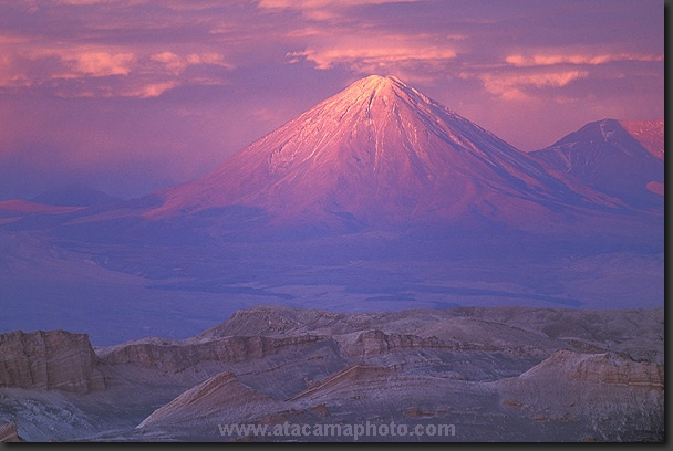 Sunset over Valle de la Luna and Licancabur volcano