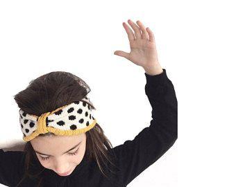 Kid's knitted turban, merino wool knit headband, dots pattern