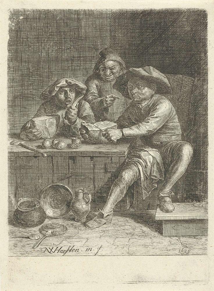 Nicolaes van Haeften   Boeren aan een tafel met brood, Nicolaes van Haeften, 1695  