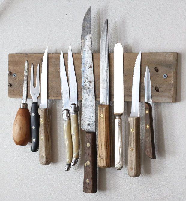 DIY: magnetic reclaimed knife rack