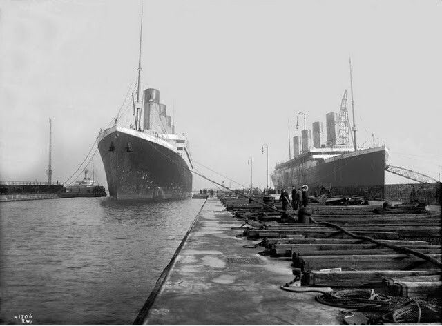 Olympic and Titanic. Together for the last time by sheer chance.