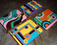 "70s Style TV Trays.  I need to do something like this to ours so they can ""come out of the closet!""  :-)"