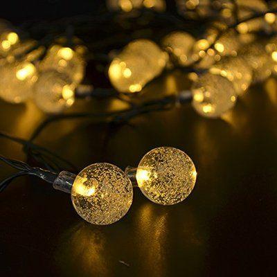 CrazyFire 20球4.8m バブル電飾 ソーラーLEDクリスマスイルミネーション ガーデンライト イルミネーションライト ストレートライト ウエッデイング ツリー シャンパンゴールド