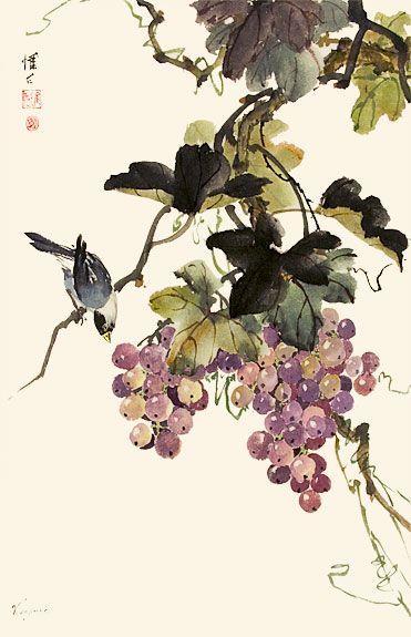 oriental paintings of grape vines - Google Search