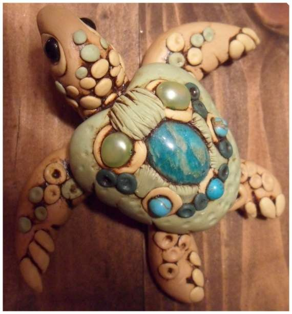 Polymer Clay Turtle decorated box by jackienewton1 on Etsy, $80.00