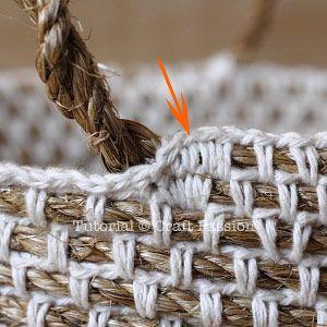 Crochet | Hemp Basket | Free Pattern & Tutorial at CraftPassion.com ༺✿ƬⱤღ✿༻