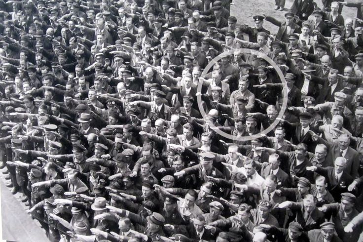 No Salute for Hitler// August Landmesser, the man with his arms crossed, was married to a Jewish woman//