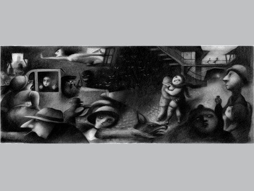 """De la carpeta Black Rose de Ana Juan. """"Sin título 3"""", estampa digital con impresión múltiple. 32,76x86 cm. Papel Somerset enhanced, velvet 100% algodón, 330 gr. 25 ejemplares. Firmada y numerada por la autora."""