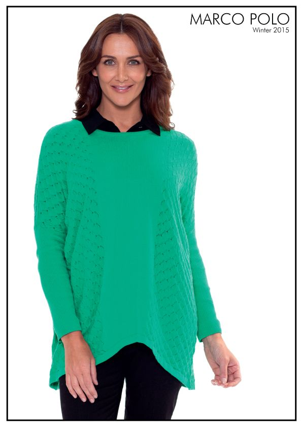 Play with colour and texture this season with the Bobble Panel Knit Jumper. With a super cosy drop shoulder, the long sleeve style features a scooped neckline, hem and neck ribbing and beautiful bobble knit detailing. Style with our coated pants and boots for classic Winter outfitting. Please call 03 9902 5100 to locate your nearest stockist or shop online today at http://www.marcopolo.net.au/new/l-s-bobble-panel-knit-emerald-mw53060.html (Style Number: YTMW53060)