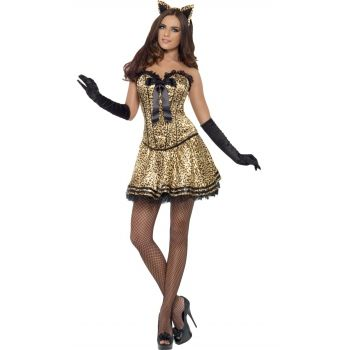 Sexy poezen oufit voor dames. Sexy poezen kostuum voor dames met luipaard print, corset en tutu rokje. Carnavalskleding 2015 #carnaval
