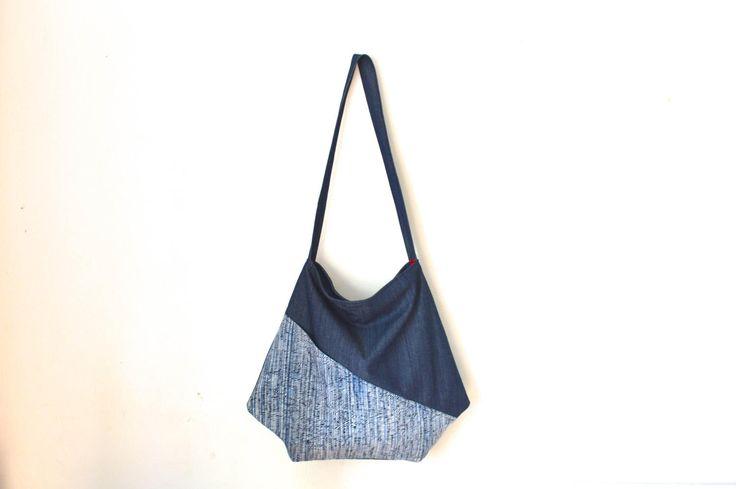 large crossbody bag, japanese bag, large shoulder bag, blue shoulder bag, kimono bag, hobo bag by UMEHARAKABAN on Etsy