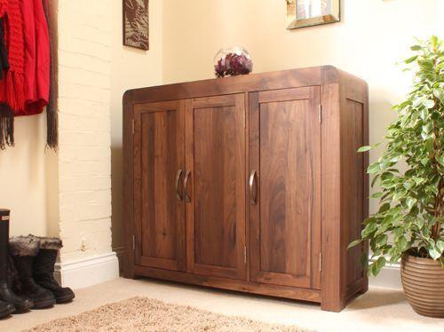 Shiro Walnut Extra Large Shoe Cupboard Wood Furniture Livingroom Lounge Bedroom