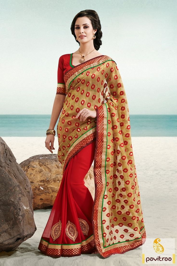 Gold red designer party wear Saree is fine with its beautiful lace patti, embroidery and patch works. It is made in purest chiffon fabrics available.