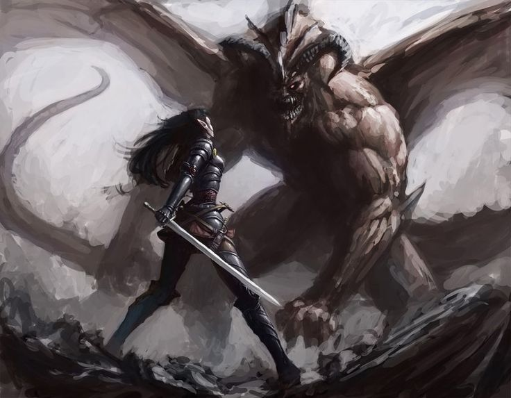 Elven Warrior Faces a Mighty Demon