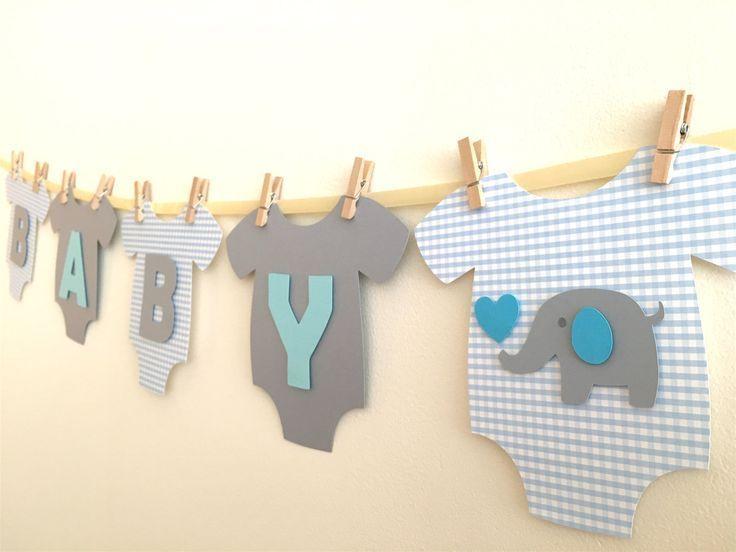 """Baby One-Piece Bodysuit """"BABY BOY"""" Elephant Baby S…"""