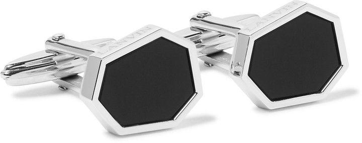 Lanvin Silver-Tone Onyx Cufflinks