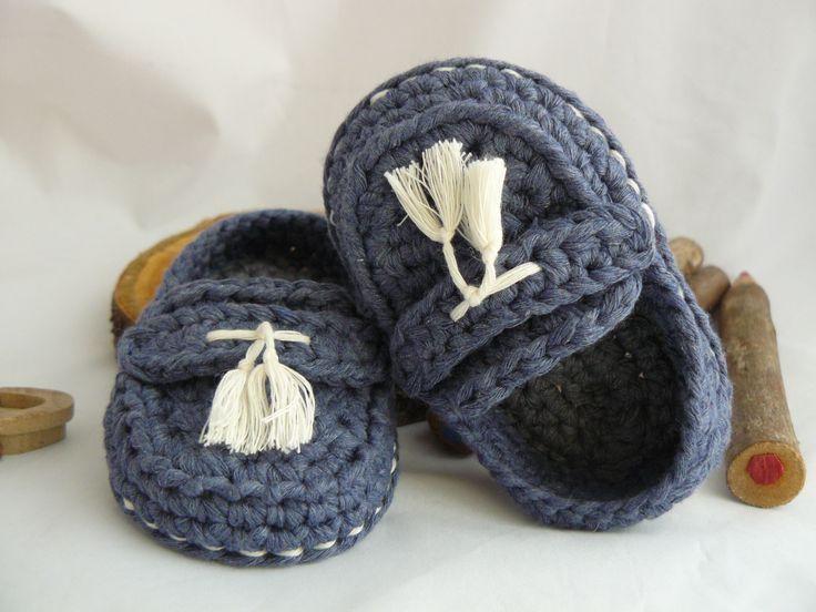 Mocassini modello Andrea per bambino ad uncinetto colore jeans e grigio : Moda bebè di bicolino