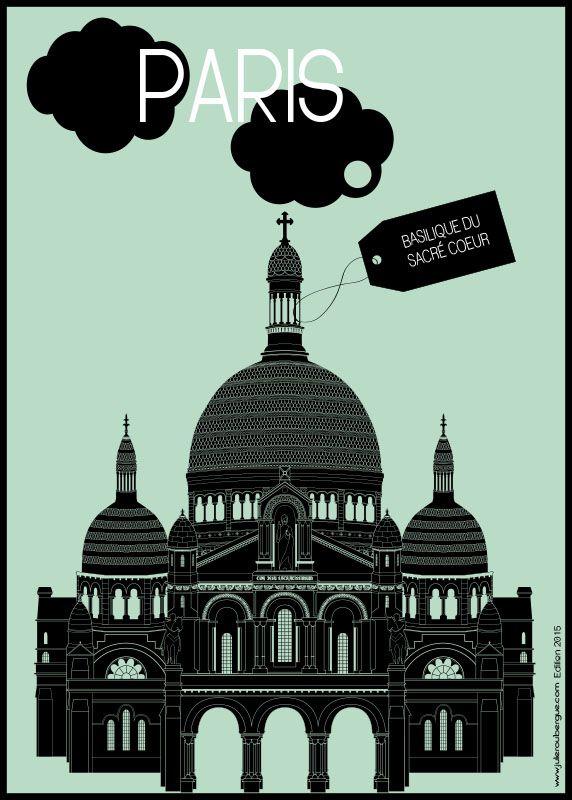 Basilique du Sacré Coeur Light Green - Poster 50x70cm or 30x40cm