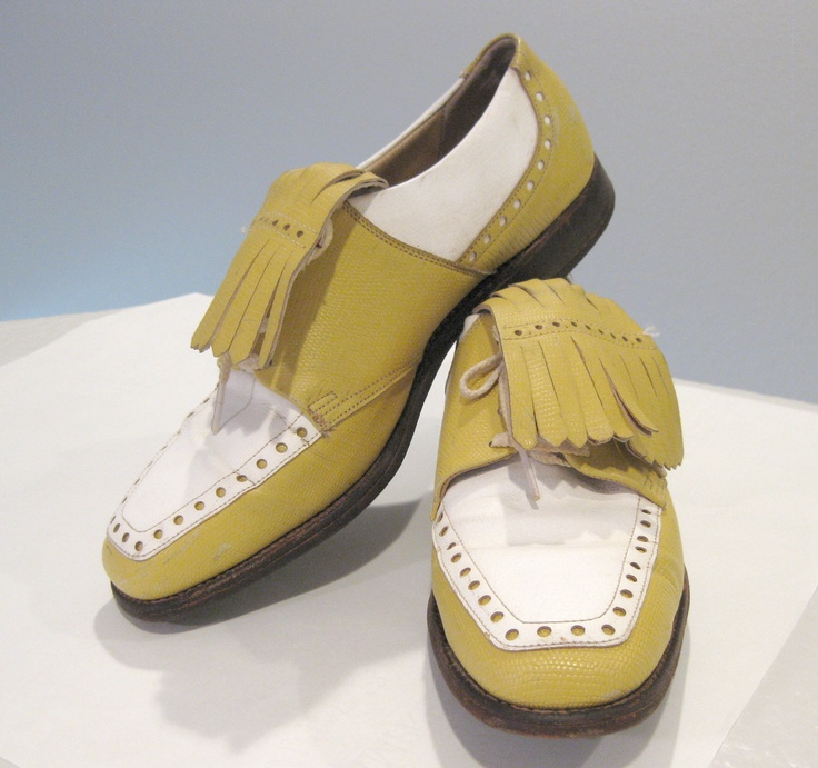 Vintage Golf Shoes Vintage Oxford Shoes Very Cute Mustard and White w