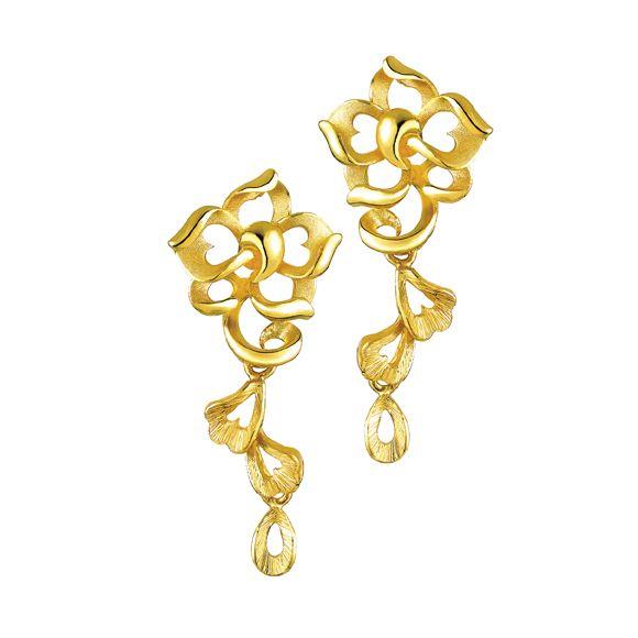 Gold Flower Earrings Lukfook Jewelry