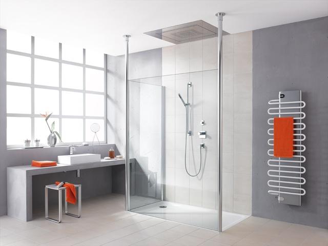 WALK-IN-SHOWER  Die ganz große Dusch-Freiheit.    FREE      Ausgezeichnet mit renommierten Design-Awards.      Freistehende Scheiben bis Modulgröße 2 x 2,20 m.      Starkes Einscheiben-Sicherheitsglas ESG.      Exklusive Wandstabilisierung.      Extrem stabile Deckenstütze bis zu 3 m Höhe.