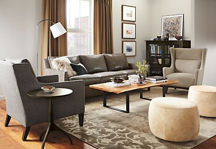 A modern design with plush, loose back cushions, the Bram leather sofa features a bold, raised flange seam. The sofa's smaller footprint makes it incredibly versatile, while smart proportions ensure it has a roomy seat, despite its smaller scale.