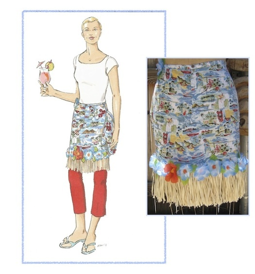 Tropical apron - perfect for luau, summer pool party