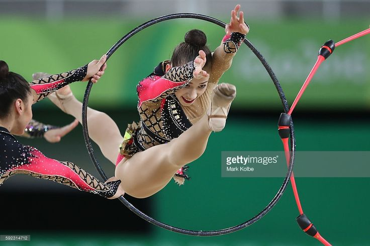 Germany compete during the hoop and club rotation 2 in the group all-round qualification round at the at Rio Olympic Arena on August 20, 2016 in Rio de Janeiro, Brazil.