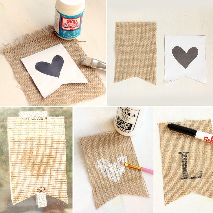 Hip Handwerk: De leukste dingen maak je mooi zelf!: DIY Slinger van jute... Happy Valentine!