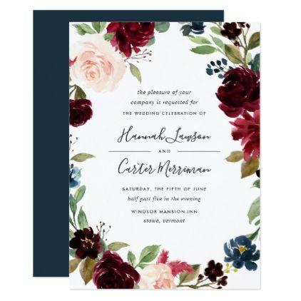 Radiant Bloom Floral Frame Wedding Invitation - blush pink gifts unique special diy custom