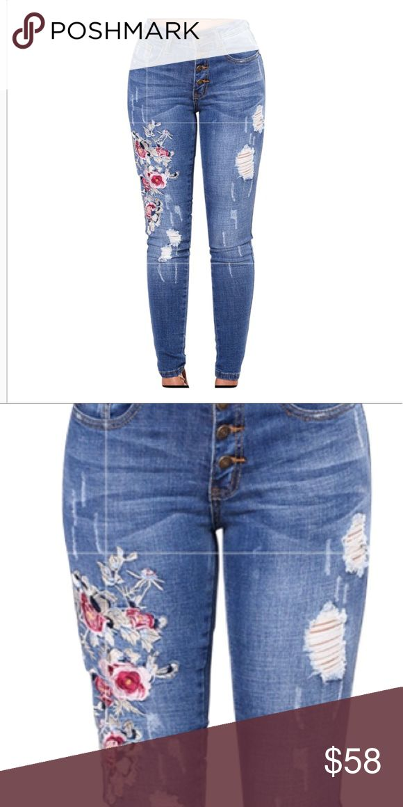 Distressed Floral Embroidered Skinny Jeans These lovely, distressed Floral jeans have a vintage feel and just the right amount of distressed detail.  5% elastane for stretch, mid rise, button fly.  Say yes to these fall favorites! Lalea Jeans Skinny