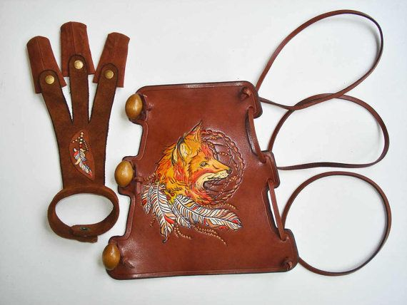 Archery Set Arm Guard and a Shooting Glove by MadeOfLeather