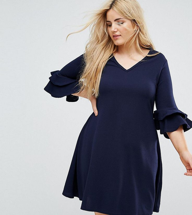 Get this Praslin's turtleneck dress now! Click for more details. Worldwide shipping. Praslin V Neck Dress with Fluted Sleeve Detail - Navy: Plus-size dress by Praslin, Textured stretch fabric, V-neck, Frill sleeves, Flared skirt, Regular fit - true to size, Hand wash, 95% Polyester, 5% Elastane, Our model wears a UK 18/EU 46/US 14 and is 175cm/5'9 tall. (vestido de cuello alto, turtleneck, turtle neck, turtlenecks, neck dress, kleid mit rollkragen, vestido de cuello ruso, robe col montant…