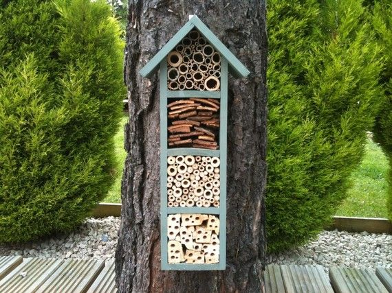 Look at this great house for Mason or Leafcutter bees (which are non-aggressive and good for pollinating gardens). Classy and fun -- from etsy.com