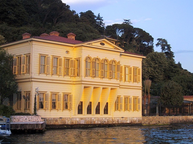Sunset on a Yali, Istanbul, Turkey    Summer wooden houses along the Bosphorus.