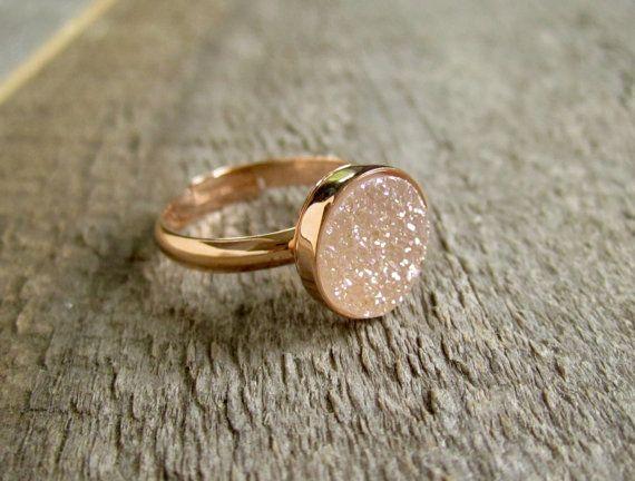 Rose Gold Druzy Ring Natural Druzy Ring Druzy by julianneblumlo