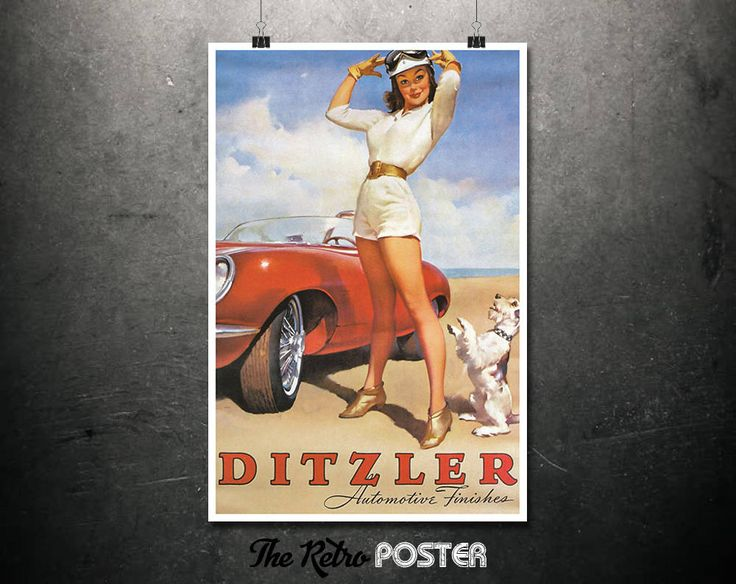Ditzler Automotive Finishes - Gil Elvgren, 1950s - Pin Up, Pin Up Girl, Gift For Men, Gifts For Him, Sexy Prints, Jaguar E-Type, Advertising by TheRetroPoster on Etsy