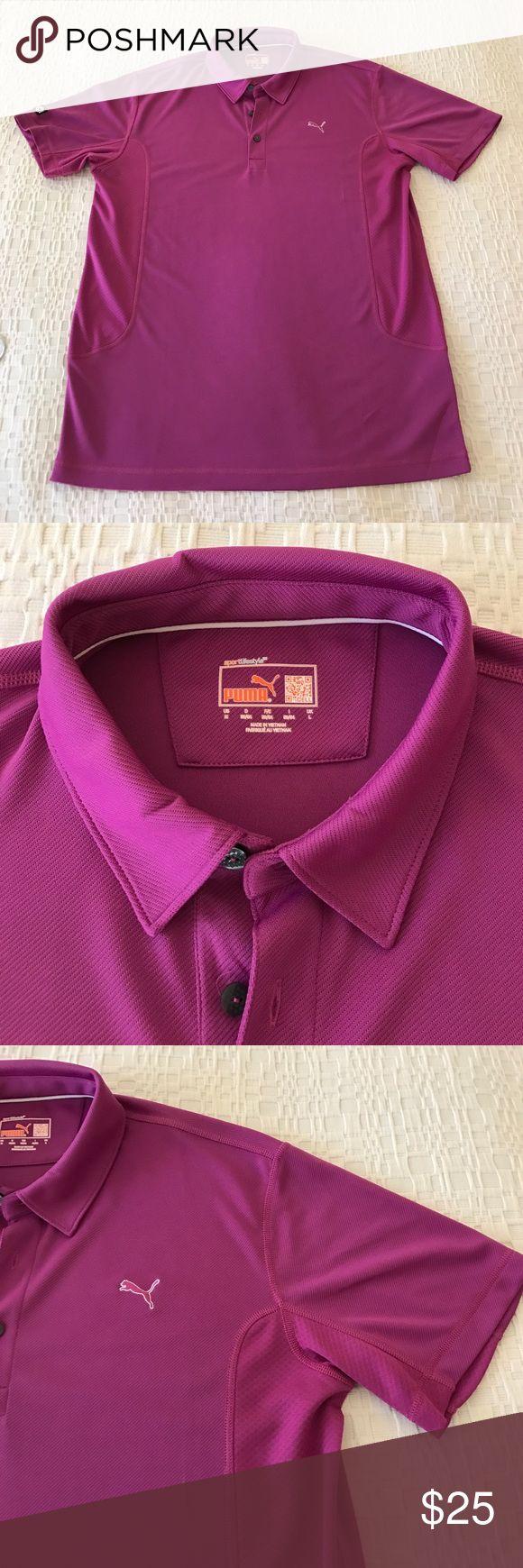 Men's Puma sport style purple golf shirt. Puma Golf collared purple shirt. Short sleeves. Moisture wicking material. Like new. Puma Shirts Polos