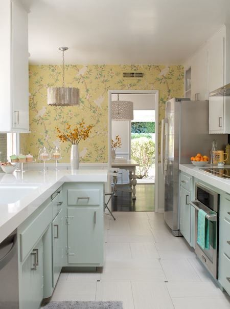 I love the wallpaper!  Cramped 50's Kitchen Gets Major Makeover on a Minor Budget » Curbly