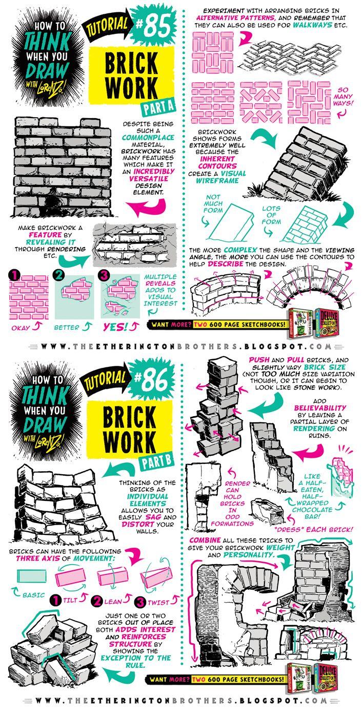 How to draw BRICKS BRICKWORK and WALLS tutorial by STUDIOBLINKTWICE