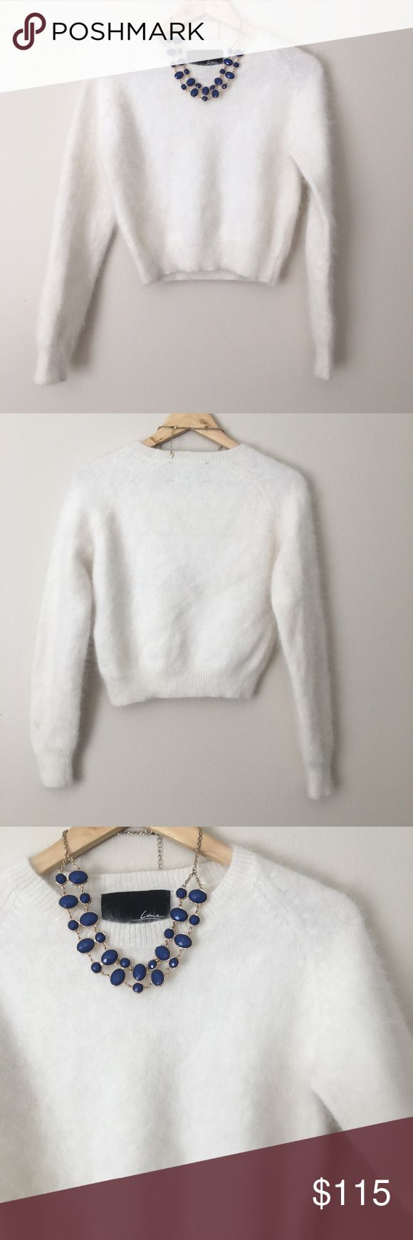 Soft angora sweater excellent condition one small mark last picture that is barely noticeable even in good lighting measurements lying flat 18 5 pit