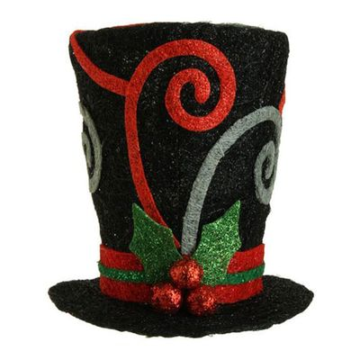 "RAZ Black Swirl Top Hat  Made of Metal Wire Measures 10.5"" X 10""   RAZ Exclusive  RAZ 2013 Holiday on Ice Collection"