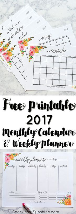 free printable 2017 monthly & weekly planners