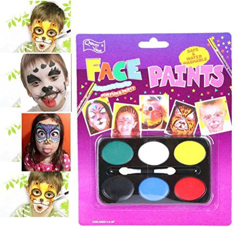 RIUDA Festival Face Painting kit For Party FDA Compliant, Non-Toxic Paint -6 Vibrant Colors