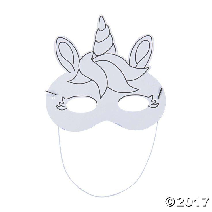 Color Your Own Unicorn Masks | Unicorn mask, Unicorn party ...