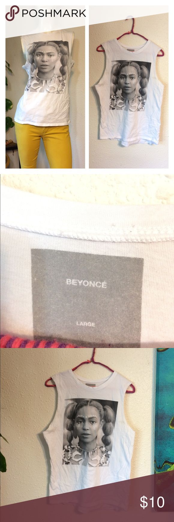 Beyoncé  Shirt marked large but fits more like medium - some kind of stain near underarm - bought it used that way from plato closet i think (posh only) Tops Muscle Tees