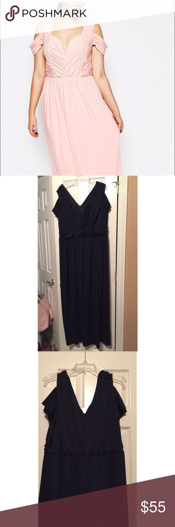 ASOS CURVE Maxi Dress This dress is a beautiful navy color. Size 22. Worn only once for a formal event. The only flaw is there a few thread pulls on the back of the dress. Perfect for a Prom, Ball, or any other glamorous event! ASOS Curve Dresses Maxi