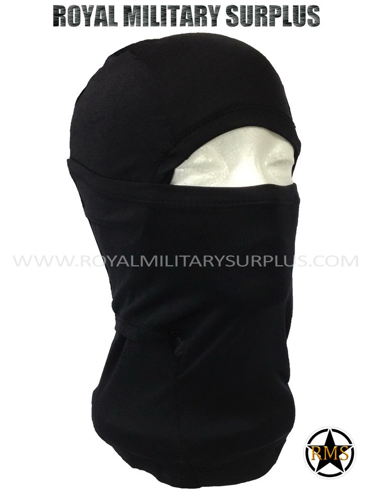 This BLACK Tactical Military Balaclava / Hood is in use by Canadian Forces. Made following Military Specifications (Adaptive/Ninja Style). All items are brand new and available. In use by Army, Military, Police and Special Forces of International Forces. Visit our Website at www.royalmilitarysurplus.com