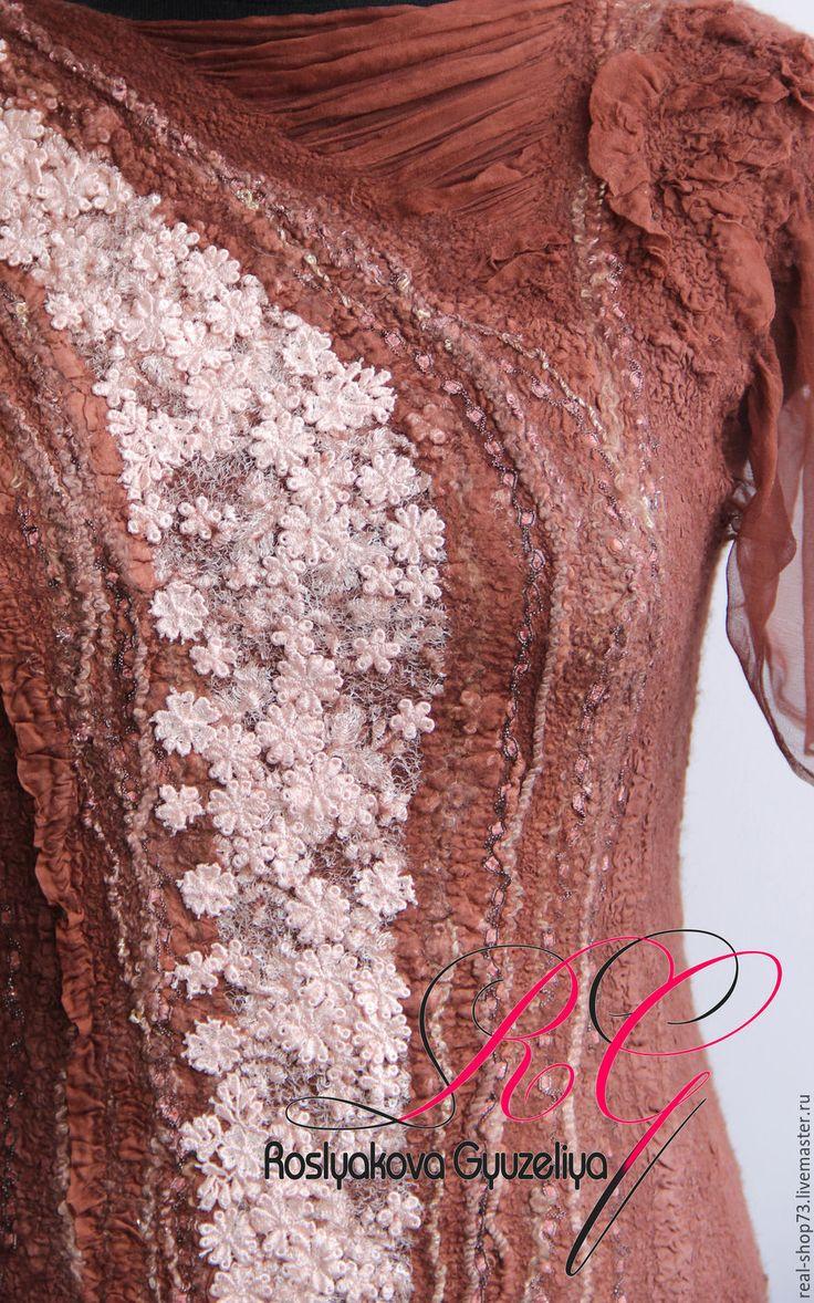 Купить Валяное платье Карамельная нежность - цветочный, нуно-фелтинг, одежда для женщин, одежда из войлока